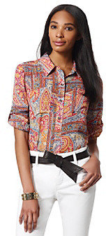 Jones New York Sport Red Multi Paisley Shirt