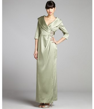 Kay Unger pale green satin woven draped surplice gown