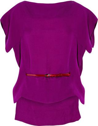 Antonio Berardi Belted silk-georgette top