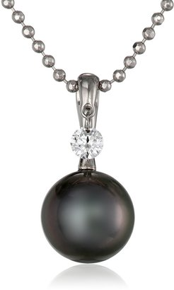 "Tara Pearls Dancing Diamond"" 18k Gold Natural Color Tahitian Cultured Pearl and Diamond Pendant (0.10cttw G-H Color SI2 Clarity) 18"""