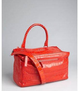 Givenchy medium red croc embossed leather convertible medium shoulder bag