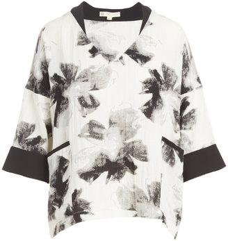 White & Black Kimono Blouse