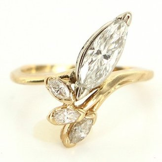 excellent (EX) Vintage 14k Yellow Gold Marquise Diamond Cocktail Ring - Size 5