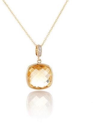 Gump's Citrine Pendant with Diamonds & Chain