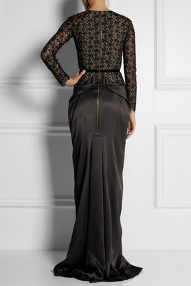 Roland Mouret Kordel lace and hammered-satin gown