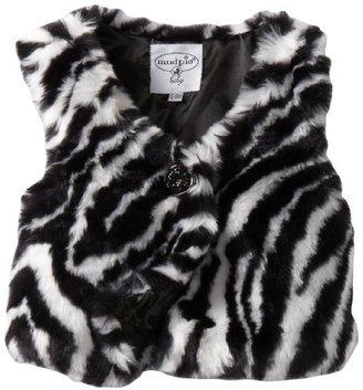Mud Pie Baby-Girls Infant Zebra Faux Fur Vest
