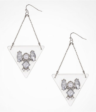 Express Embellished Lucite Triangle Drop Earrings