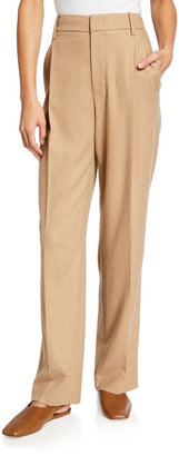Vince High-Waist Straight-Leg Wool Trousers