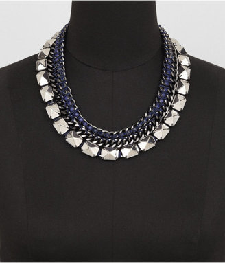 Express Thread Wrapped Chain, Bead And Stud Necklace