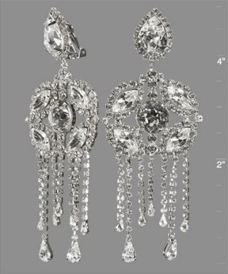 Kenneth Jay Lane silver crystal fringe clip-on earrings