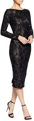 Dress the Population Emery Sequin Embellished Long-Sleeve Bodycon Dress