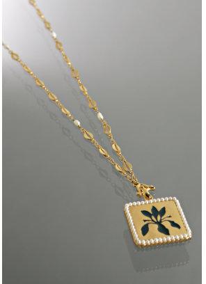 Lee Angel 'Emma' gold floral pendant necklace
