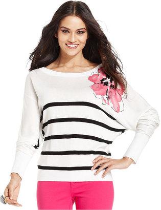 INC International Concepts Petite Top, Dolman-Sleeve Striped Sweater