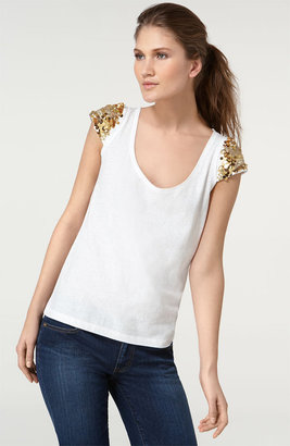 Tory Burch Embellished Sleeve Top