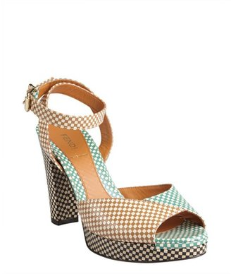 Fendi tan and mint checkered leather colorblock sandals