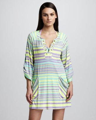 Nanette Lepore Seaside Striped Tunic Coverup, Neon Citrus