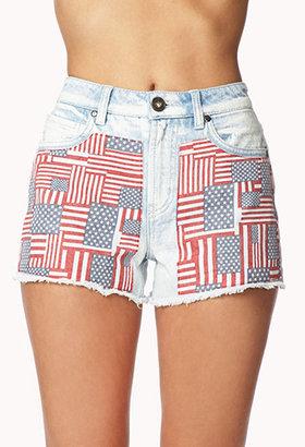 Forever 21 American Flag Patch Denim Shorts
