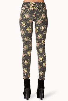 Forever 21 Rose Print Skinny Jeans