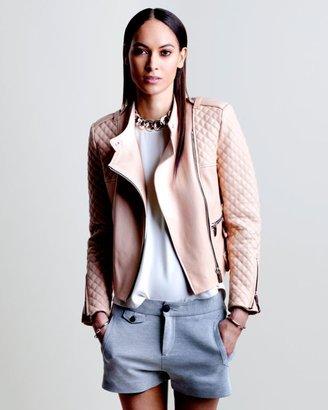 Barbara Bui Exclusive Moto Leather Jacket: Blush