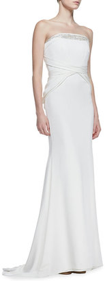 Badgley Mischka Beaded Top Strapless Gown, Ivory