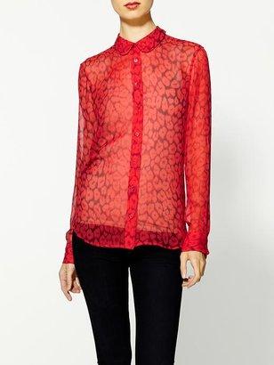 Equipment Sophie Luxe Leopard Silk Blouse