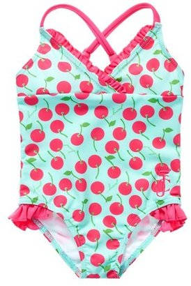 Juicy Couture Ruffle Cherry Print Swim Suit
