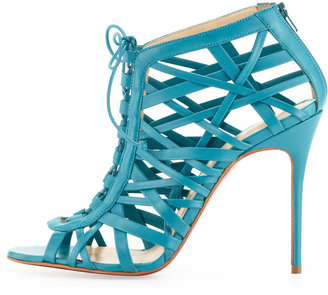 Christian Louboutin Laurence Lace-Up Red Sole Cage Sandal
