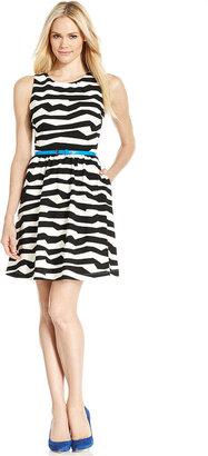 Jessica Simpson Sleeveless Zebra-Print Belted A-Line Dress