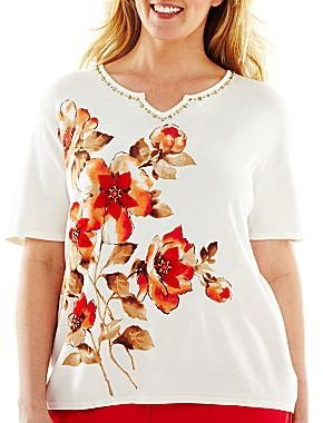 Alfred Dunner Monaco Asymmetrical Print Floral Sweater - Plus