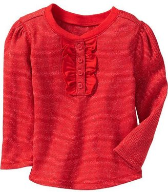 Old Navy Ruffled Waffle-Knit Sparkle Henleys for Baby