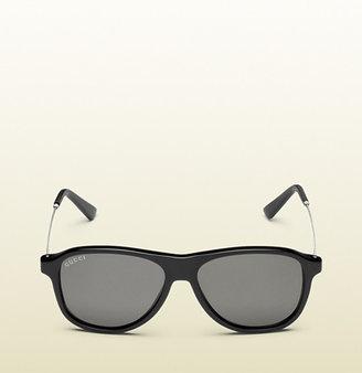 Gucci Shiny Black Aviator Sunglasses