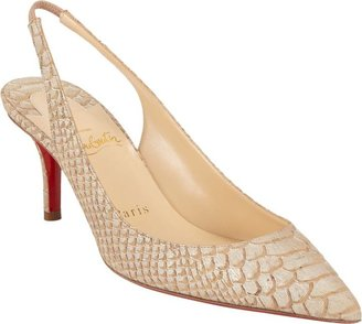 Christian Louboutin Apostrophy Slingback Pumps-Nude