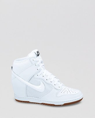 Nike Lace Up High Top Sneaker Wedges- Women's Dunk Sky Hi Mesh