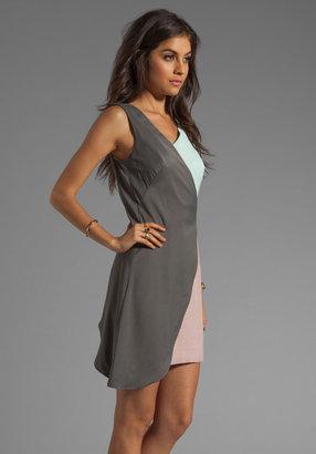 Milly Barcelona Drapey Viscose Colorblock Drape Dress