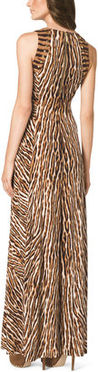 Michael Kors MICHAEL Mixed-Print Studded Maxi Dress