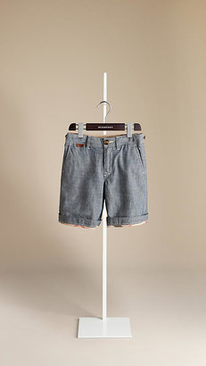Burberry Check Lined Chambray Shorts