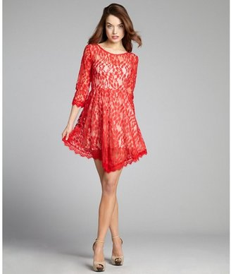 Free People poppy lace three quarter sleeve a-line dress