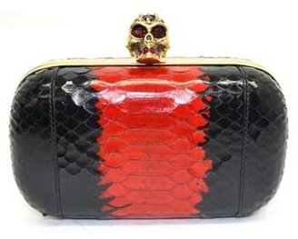 "Alexander McQueen 327299"" Black and Red Python Clutch"