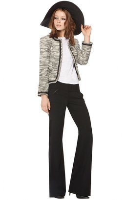 Alice + Olivia Kidman Open Front Box Jacket With Leather