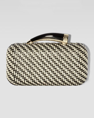 Vince Camuto Woven Horn Clutch Bag, White