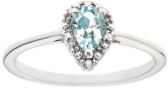 Sterling Pear Prong-Set Gemstone Ring with Diamond Accent