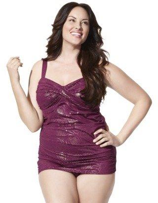 Merona Womens Plus-Size Lingerie Strap One-Piece Swimsuit - Magenta/Gold