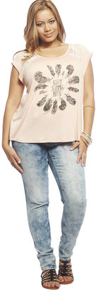 Wet Seal Summer Hippie Lace Inset Tee