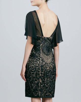 Sue Wong Beaded Flutter-Sleeve Cocktail Dress