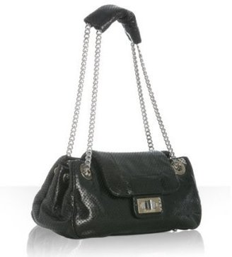 Chanel black perforated leather chain handle bag