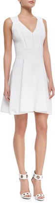 Milly Textured Knit Sleeveless Flared Dress