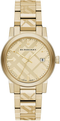 Burberry Unisex Swiss Gold Ion-Plated Stainless Steel Bracelet Watch 38mm BU9038 $795 thestylecure.com
