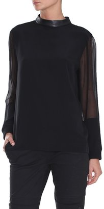 Tibi Layered Chiffon Long Sleeve Top