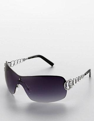 GUESS Linked Metal Shield Sunglasses