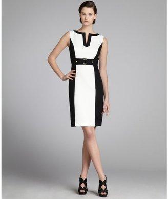 Tahari ASL black and white checker textured colorblocked 'Ellen' dress